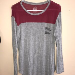 Gray and Red Graphic Long- Sleeve Tee